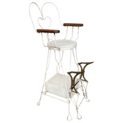 Early Ice Cream Parlour Style Wire Shoeshine Chair by Royal Products, Chicago
