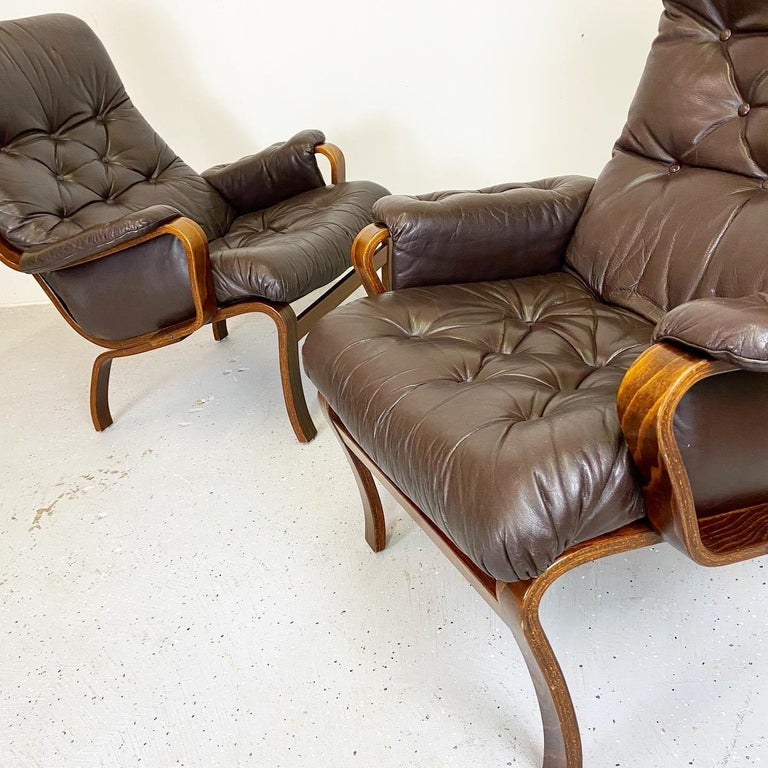 Mid-Century Modern Early IKEA Bentwood and Leather Lounge Chairs by Noboru Nakamura