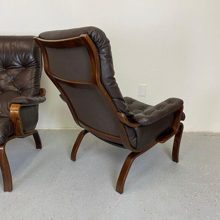 Swedish Early IKEA Bentwood and Leather Lounge Chairs by Noboru Nakamura