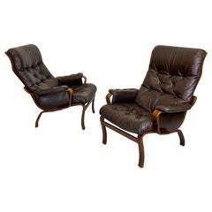 Early IKEA Bentwood and Leather Lounge Chairs by Noboru Nakamura