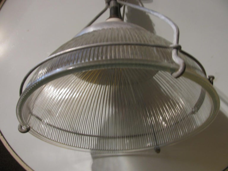 American Early Industrial Original Holophane Pendant Lamp For Sale