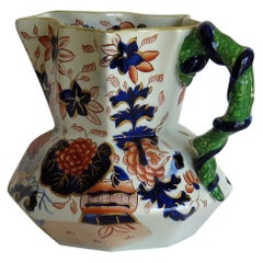 Early Ironstone Jug or Pitcher with Entwined Snake Handle Hand Painted, Ca. 1820