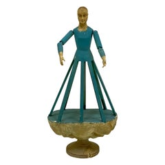 Early Italian Polychromed Cage Mannequin or Doll with Glass Eyes