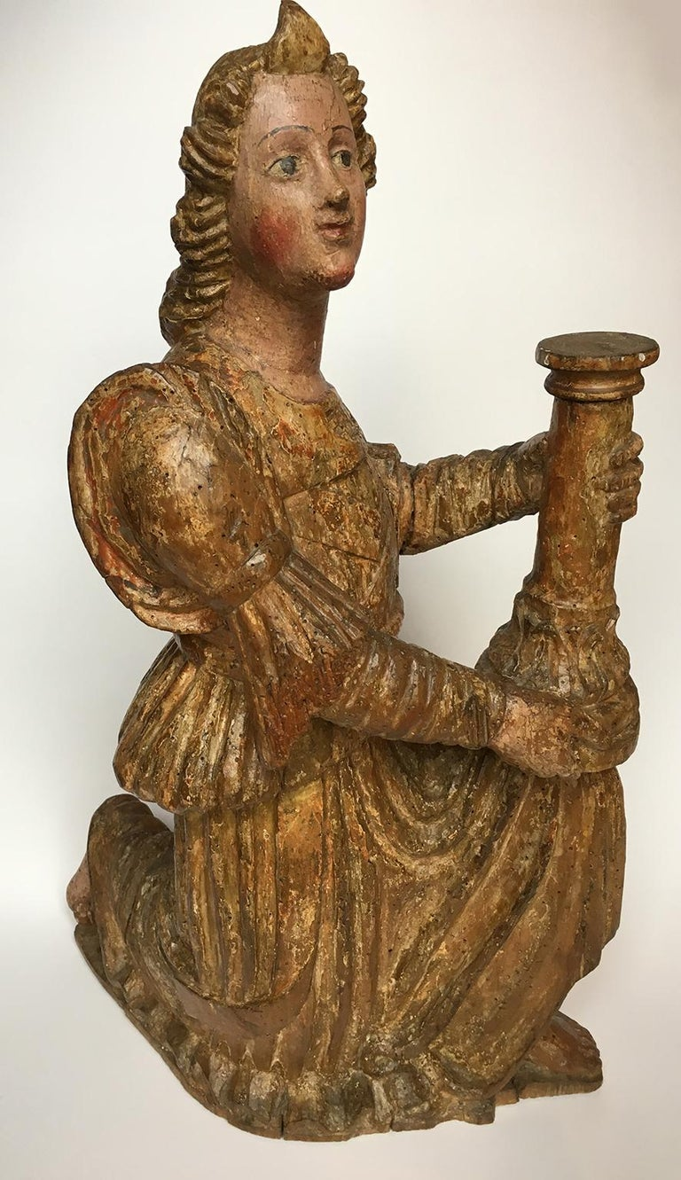 Early Italian Renaissance Wooden Angel Sculptures Gilded Tuscany, circa 1470 For Sale 5