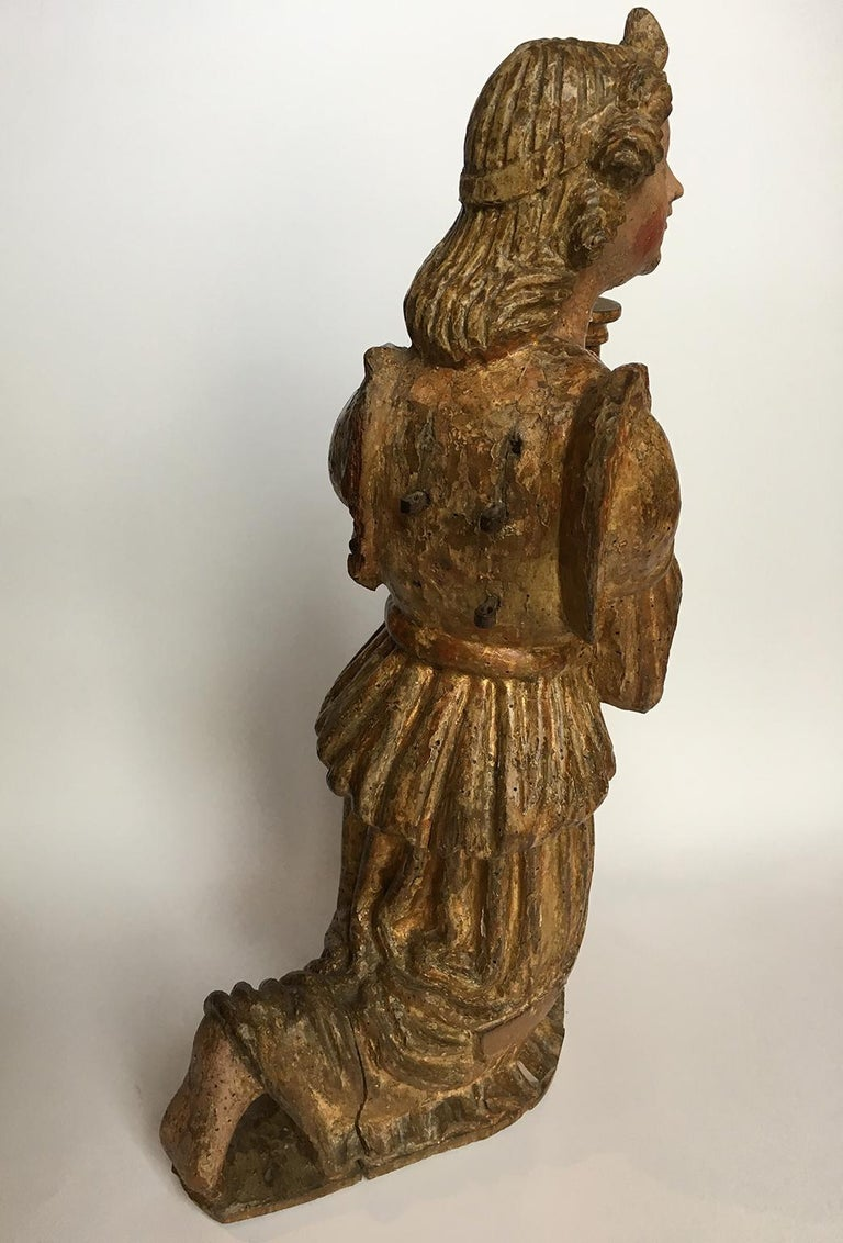 Early Italian Renaissance Wooden Angel Sculptures Gilded Tuscany, circa 1470 For Sale 6