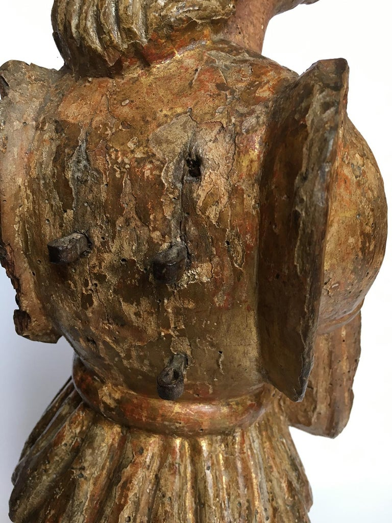 Early Italian Renaissance Wooden Angel Sculptures Gilded Tuscany, circa 1470 For Sale 7