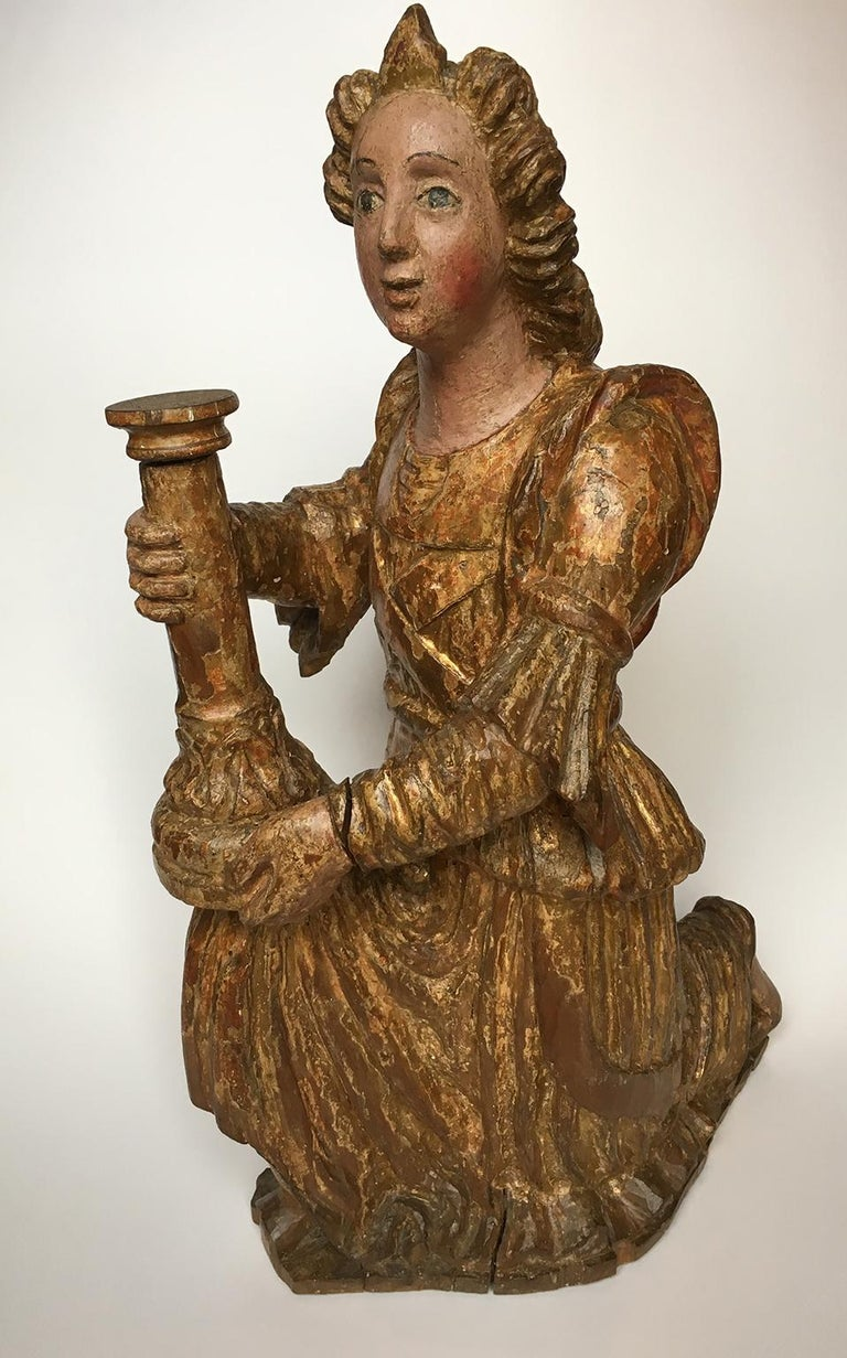 18th Century and Earlier Early Italian Renaissance Wooden Angel Sculptures Gilded Tuscany, circa 1470 For Sale