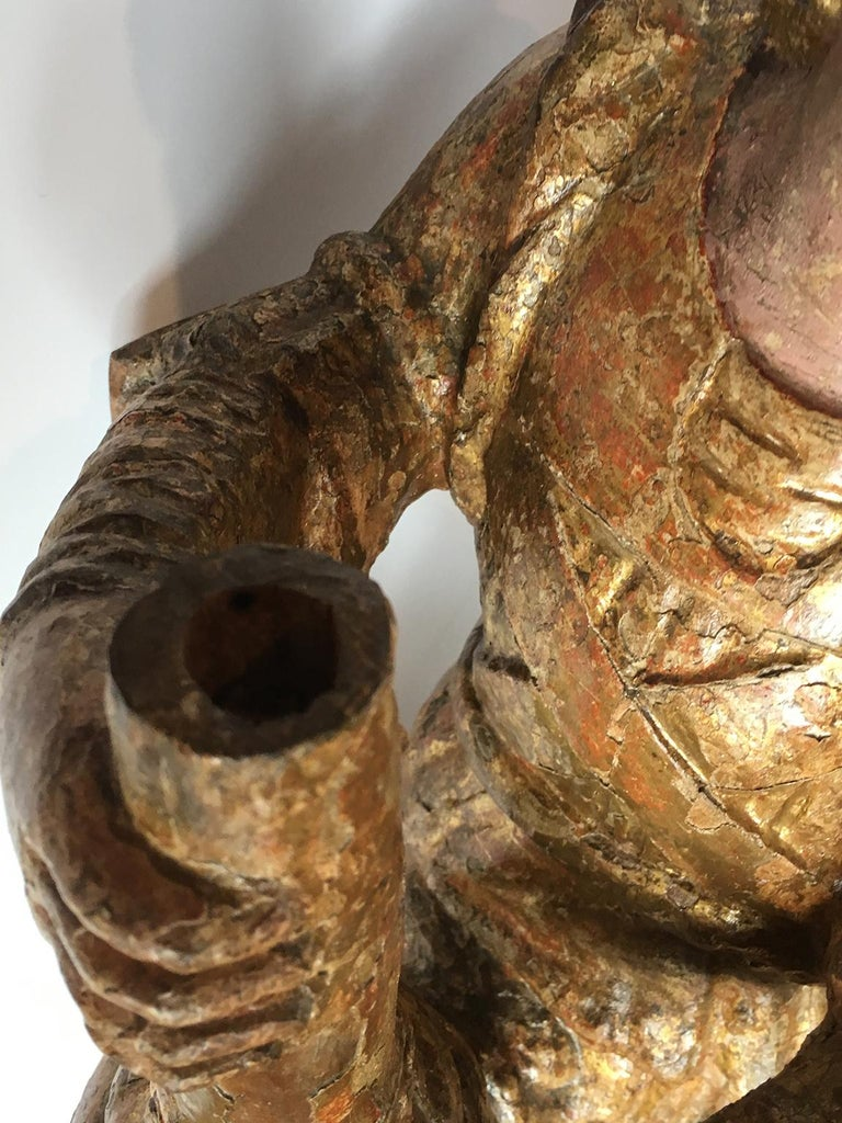 Early Italian Renaissance Wooden Angel Sculptures Gilded Tuscany, circa 1470 For Sale 2