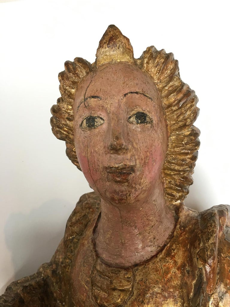 Early Italian Renaissance Wooden Angel Sculptures Gilded Tuscany, circa 1470 For Sale 3