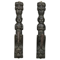Early Jacobean Tudor Figural Carved Oak & Handwrought Iron Wall Sconces