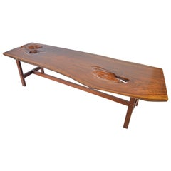 Early James Martin Free Edge Coffee Table, Signed 1962