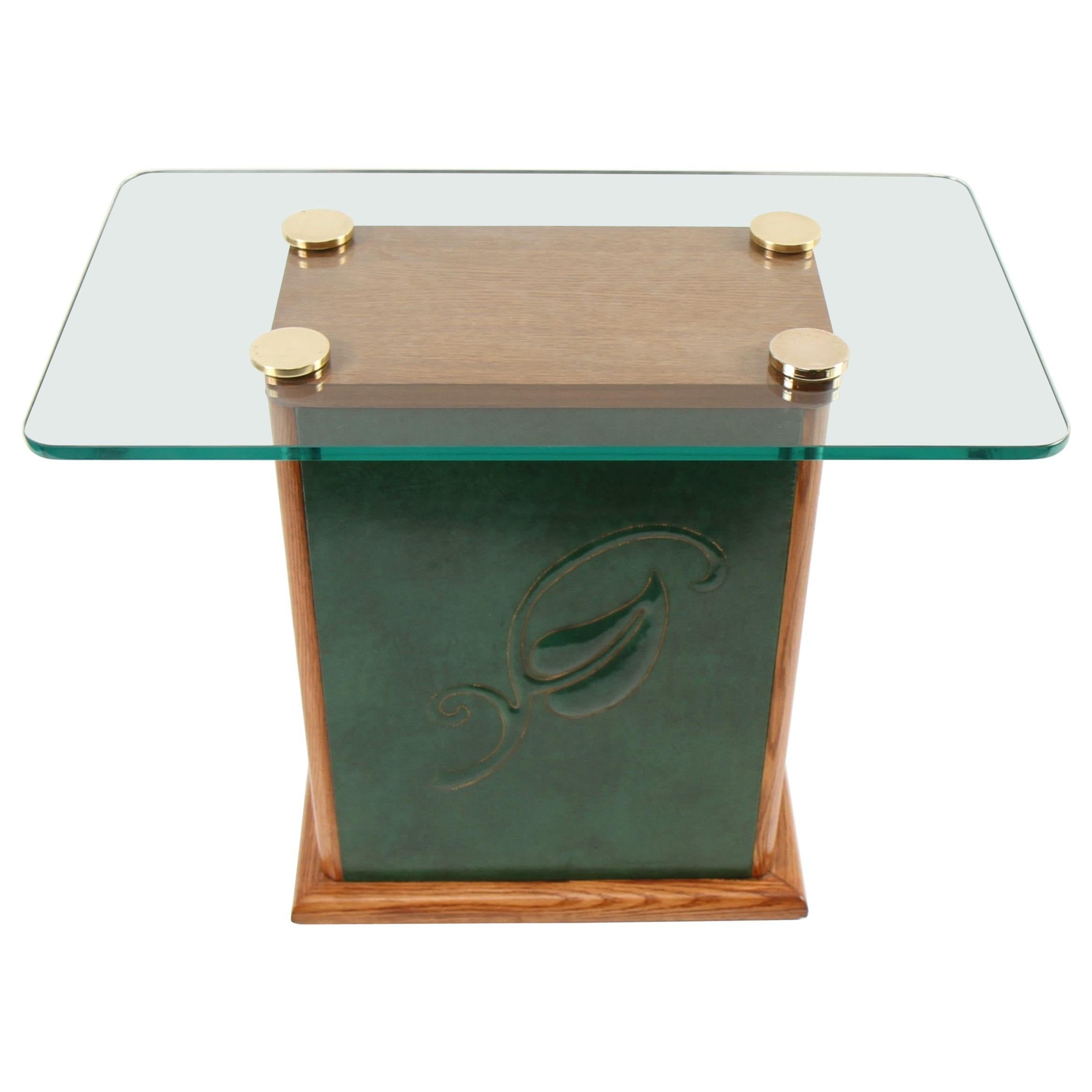Early James Mont Embossed Leather Side Table