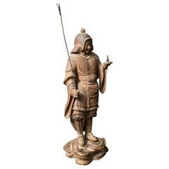 Early Japanese Hinoki Wood Sculpture of Bishamon