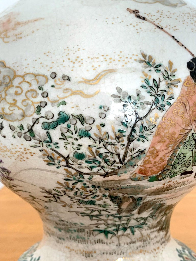 Early Japanese Satsuma Antique Vase For Sale 5