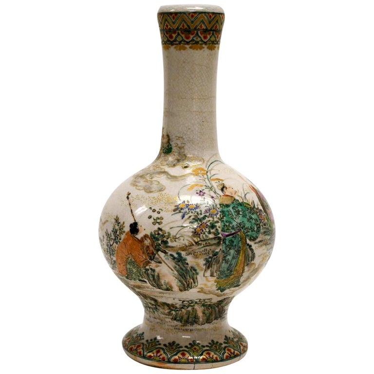 Early Japanese Satsuma Antique Vase For Sale