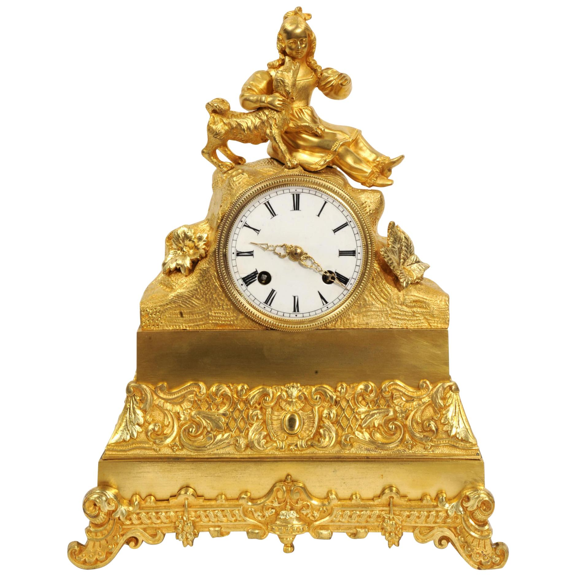 Early Japy Freres Antique French Ormolu Clock, A Girl with her Dog