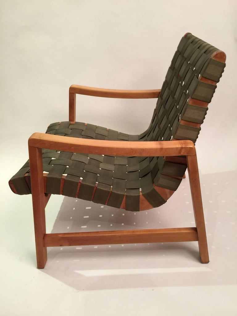 Early Jens Risom for Knoll Strap Armchair For Sale 5