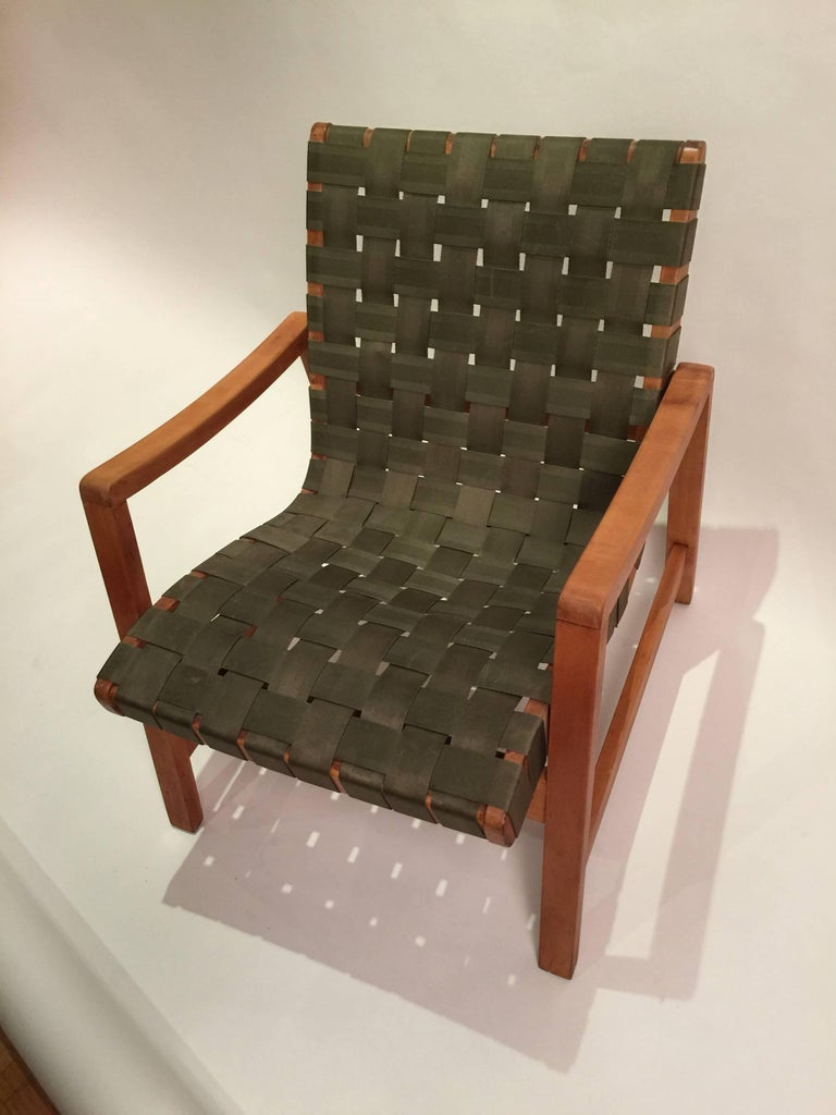 American Early Jens Risom for Knoll Strap Armchair For Sale