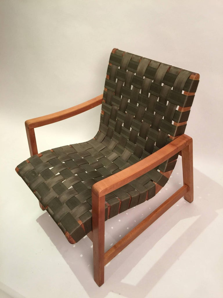 Early Jens Risom for Knoll Strap Armchair In Good Condition For Sale In Brooklyn, NY
