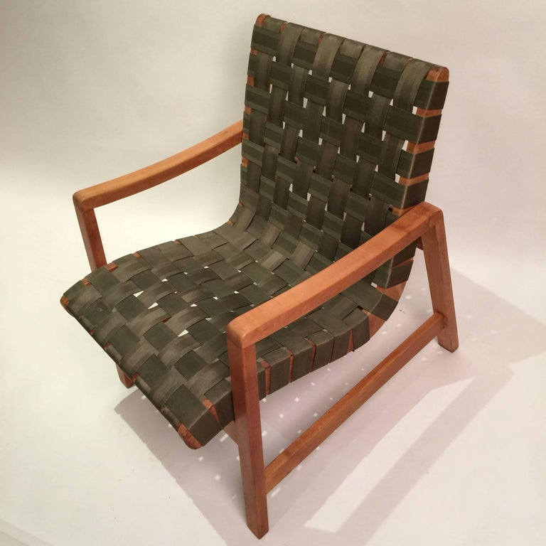 20th Century Early Jens Risom for Knoll Strap Armchair For Sale