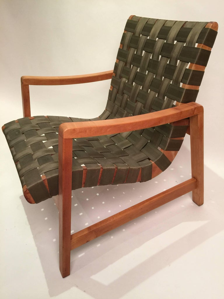 Early Jens Risom for Knoll Strap Armchair For Sale 1