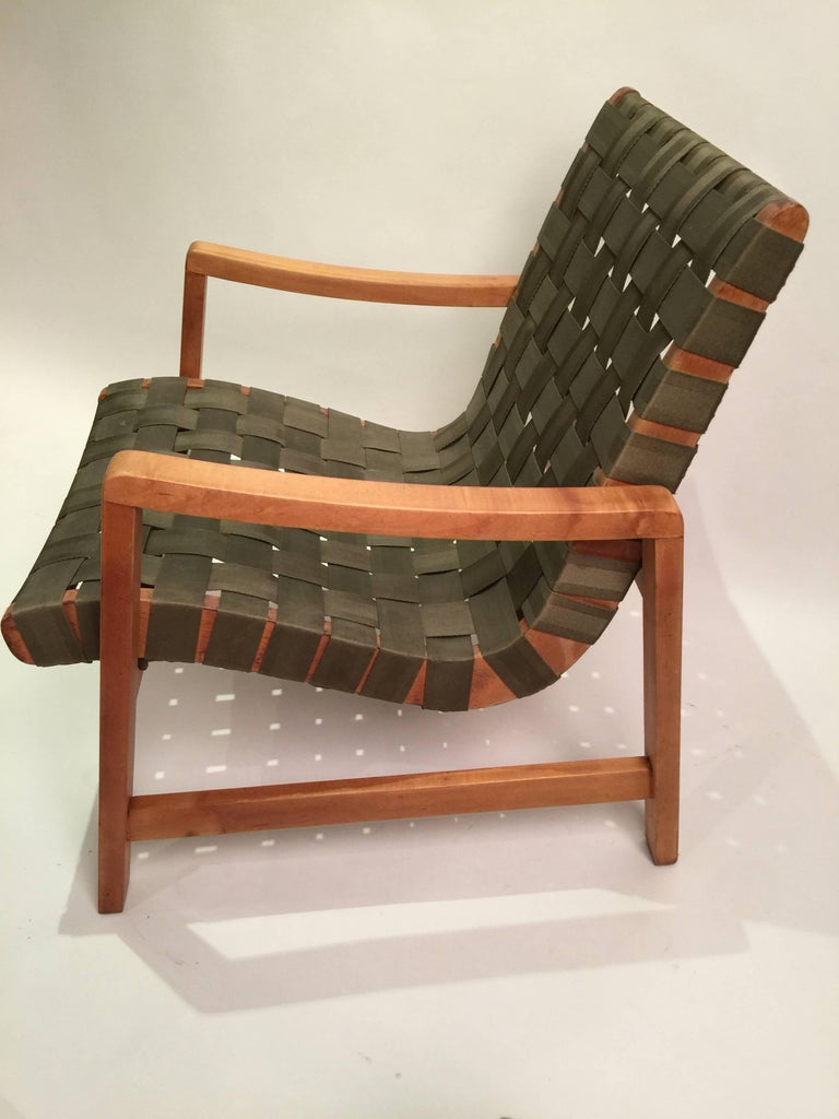 Early Jens Risom for Knoll Strap Armchair For Sale 2