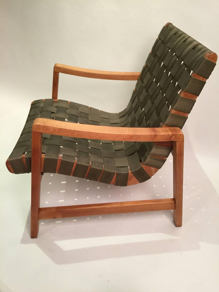 Early Jens Risom for Knoll Strap Armchair For Sale 3
