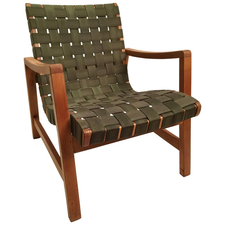 Early Jens Risom for Knoll Strap Armchair For Sale