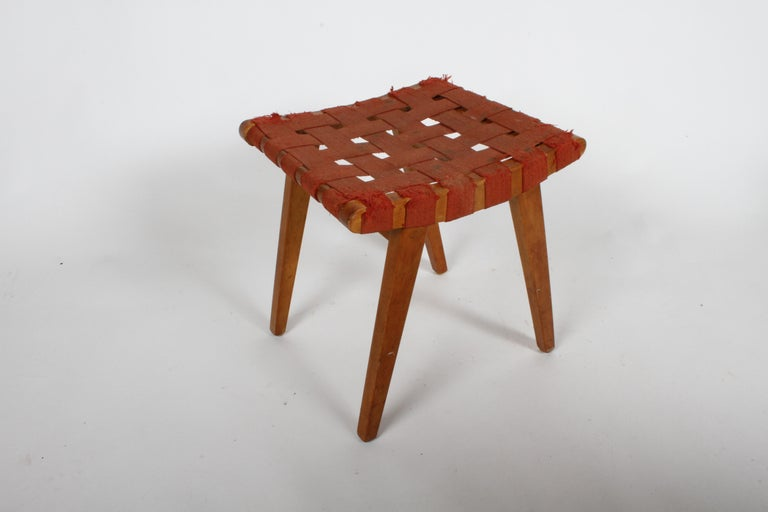 Mid-Century Modern Early Jens Risom for Knoll Strap Stool For Sale
