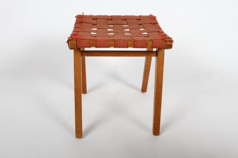 American Early Jens Risom for Knoll Strap Stool For Sale