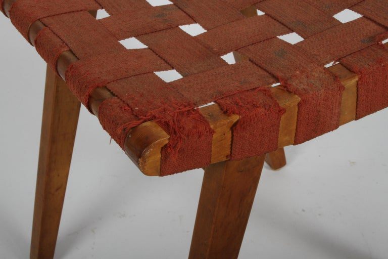 Early Jens Risom for Knoll Strap Stool In Good Condition For Sale In St. Louis, MO