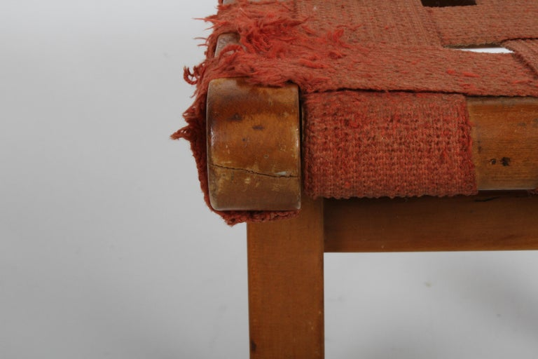 Mid-20th Century Early Jens Risom for Knoll Strap Stool For Sale