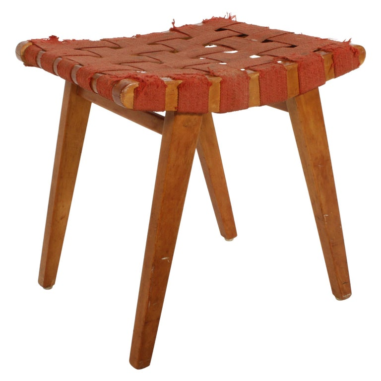 Early Jens Risom for Knoll Strap Stool For Sale