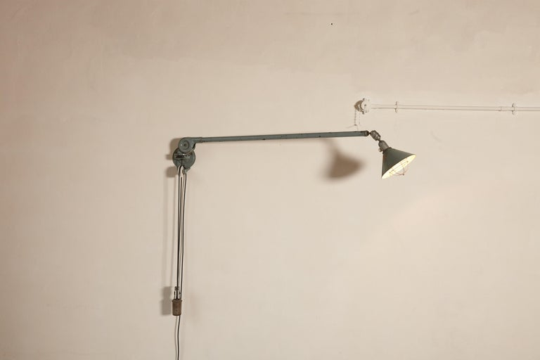 Swedish Early Johan Petter Johansson Industrial Triplex Telescopic Lamp, Sweden, 1910s For Sale