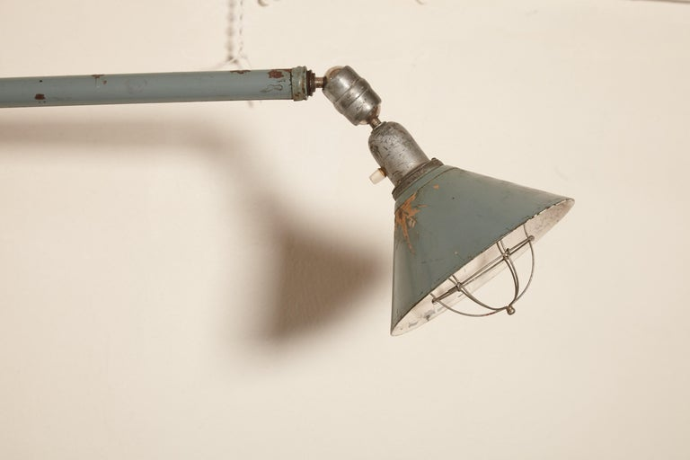 Early Johan Petter Johansson Industrial Triplex Telescopic Lamp, Sweden, 1910s In Good Condition For Sale In London, GB