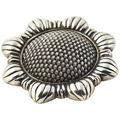 Early John Hardy Sterling Silver Sunflower Brooch