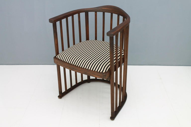 Austrian Early Josef Hoffmann Barrel Chair Jacob & Josef Kohn Austria, 1880 For Sale