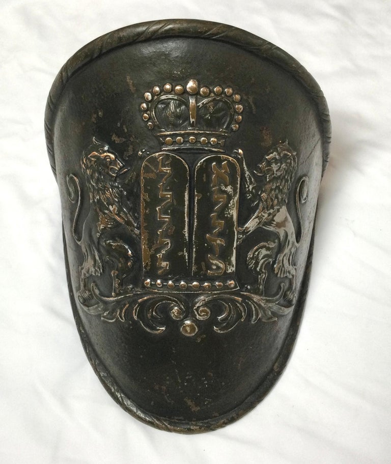 Early Judaica Wall Sconce Ten Commandments & Lions of Judea, with Torah Crow For Sale 4