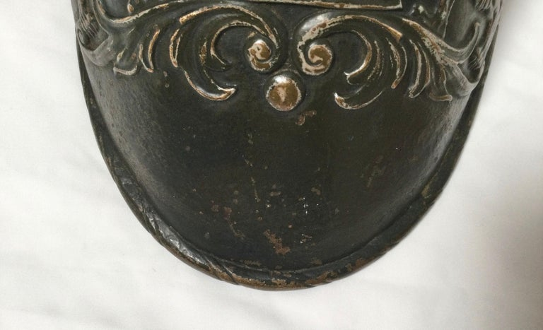 German Early Judaica Wall Sconce Ten Commandments & Lions of Judea, with Torah Crow For Sale