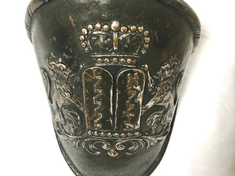 Bronze Early Judaica Wall Sconce Ten Commandments & Lions of Judea, with Torah Crow For Sale