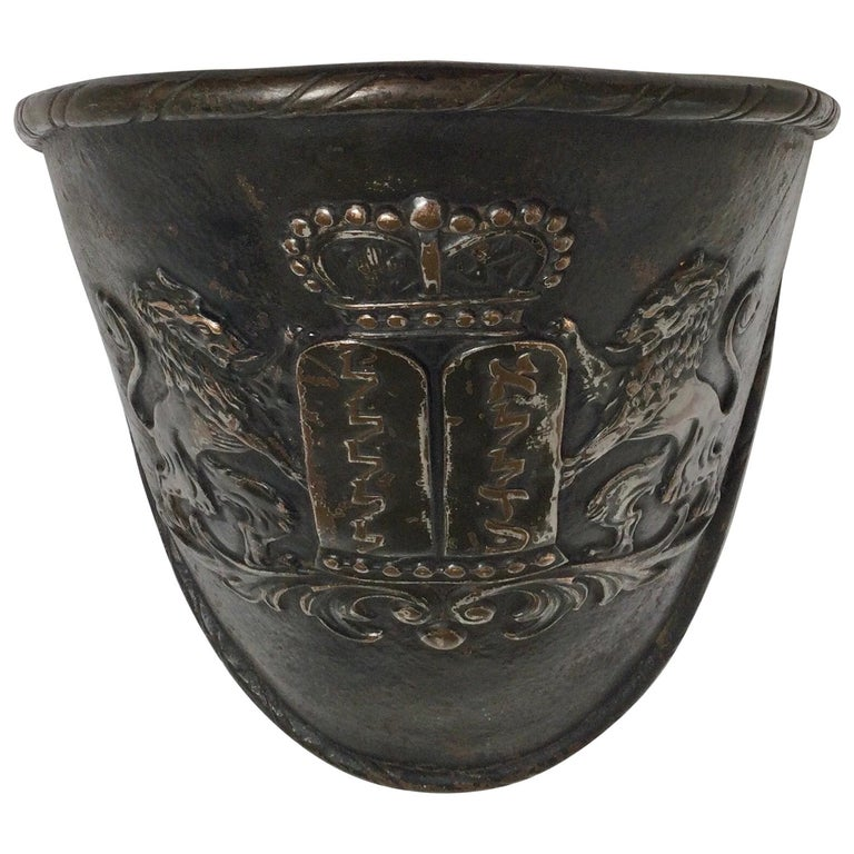 Early Judaica Wall Sconce Ten Commandments & Lions of Judea, with Torah Crow For Sale