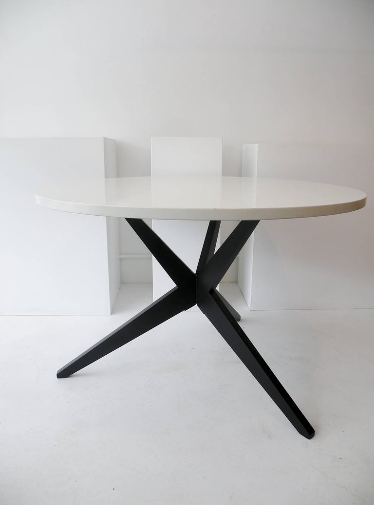 Mid-Century Modern Early Knoll Hans Bellmann Round Popsicle Dining Table For Sale