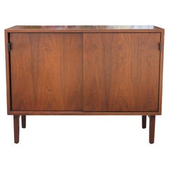 Early Knoll Modern Sliding Door Cabinet with Leather Pulls