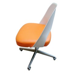 Early Knoll Saarinen Executive Side Chair with Casters in Orange and White