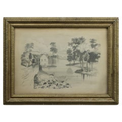 Early Landscape Pencil Drawing in Original Frame, c1880