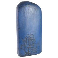 Early Lapis Blue Asymmetric Slab Vase by Marcello Fantoni, Italy, 1957