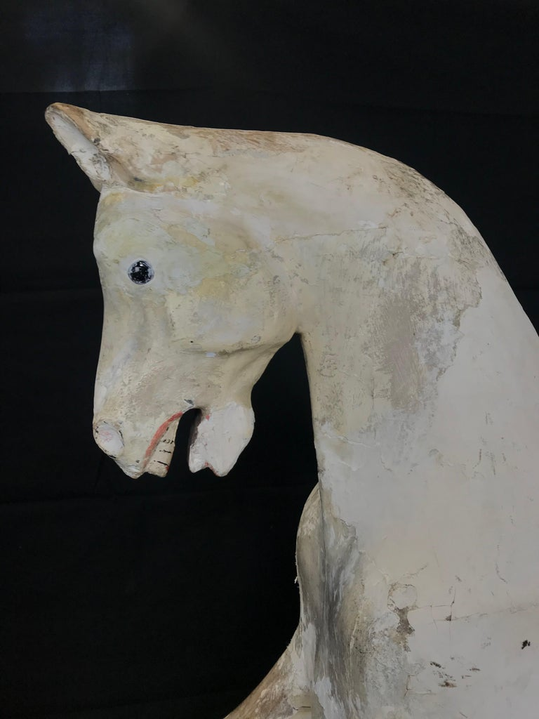 Folk Art Early Large British Carved and Painted Wood Merry-Go-Round Carousel Horse For Sale