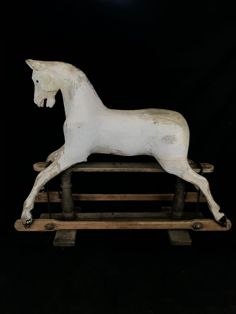 English Early Large British Carved and Painted Wood Merry-Go-Round Carousel Horse For Sale
