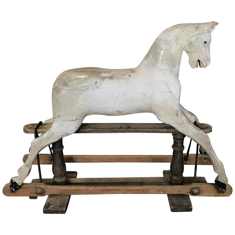 Early Large British Carved and Painted Wood Merry-Go-Round Carousel Horse For Sale