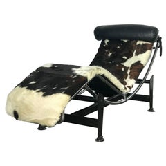 Early Le Corbusier LC4 Style Chaise with Cowhide